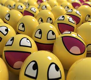 Yellow laughing balls